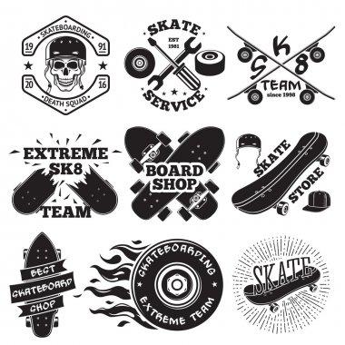 Set of skateboarding labels - skull in helmet, repair, skate team, board shop, etc. Vector