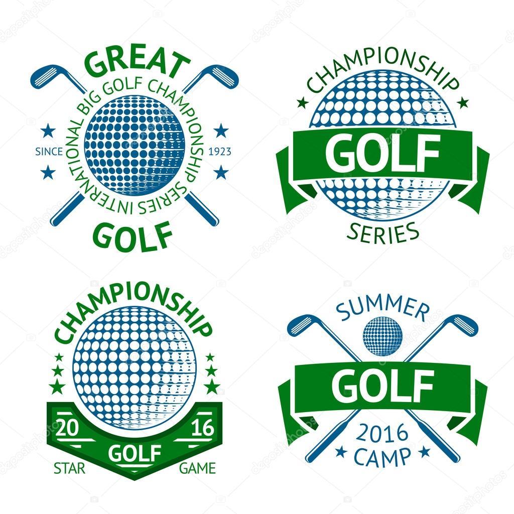 Vektor-Set Golf Abzeichen, Logo-Vorlagen, etc.. Mit Club und ball ...