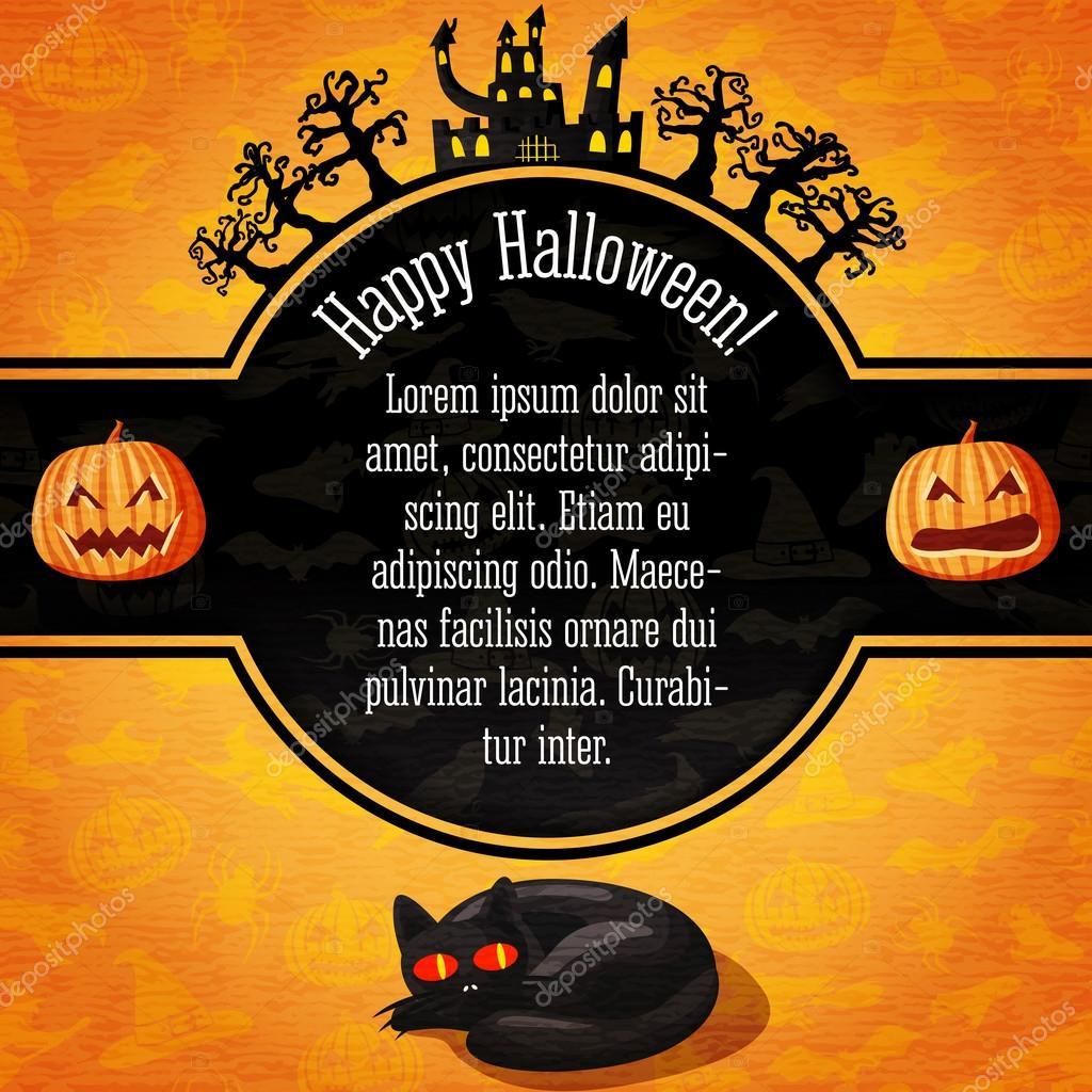 bannière de halloween heureux avec salutations et exemple de texte