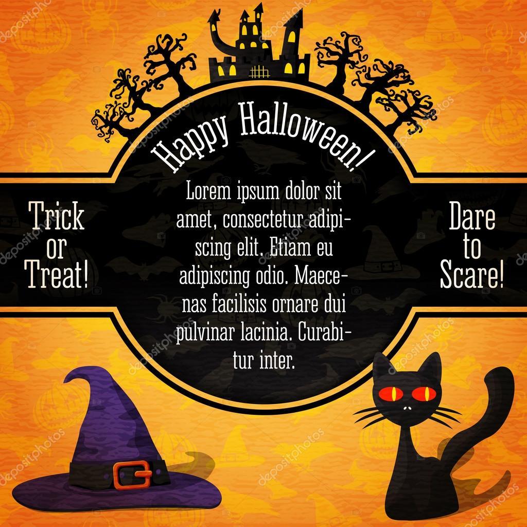 bannière de halloween heureux avec les salutations, exemple de texte