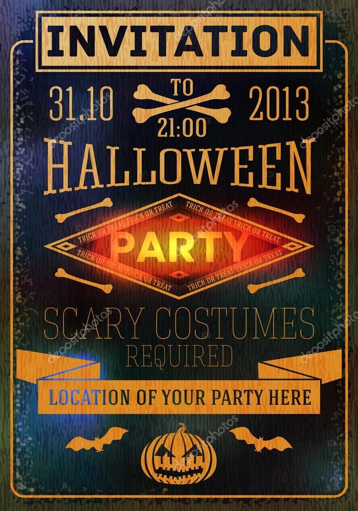 zur halloween-party mit fledermäusen, knochen, kürbisse. platz für, Einladung