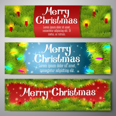Set of horizontal Merry Christmas banners decorated by pine wreath with candles, baubles, lights. Vector.