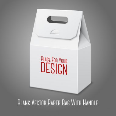 Blank white paper packaging bag with handle. Vector