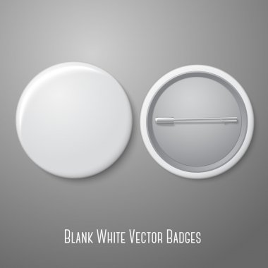 Blank vector white badge with place for your text. Both sides - face and back. Isolated on grey background for design and branding. Vector illustration stock vector