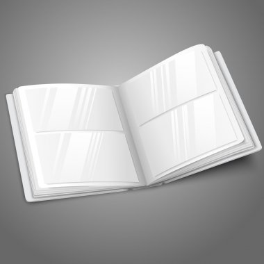 Blank white vector opened photo album for your messages, design concepts, photos etc.
