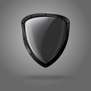 Blank realistic glossy shield with carbon texture and black border. Vector