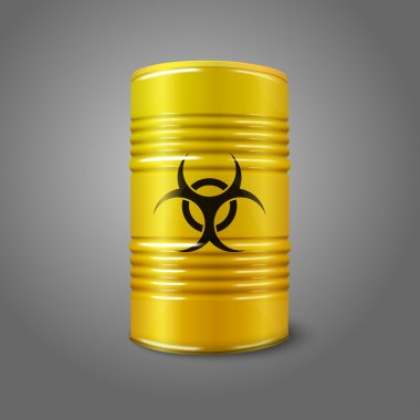 Realistic bright yellow big barrel with bio hazard sign, isolated on grey background. With place for your signs, design etc.