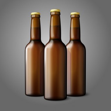 Three blank brown realistic beer bottles isolated on grey background with place for your design and branding. Vector