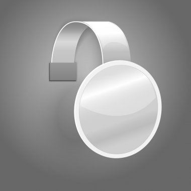 Blank white plastic wobbler isolated on grey background with place for your design and branding. Vector