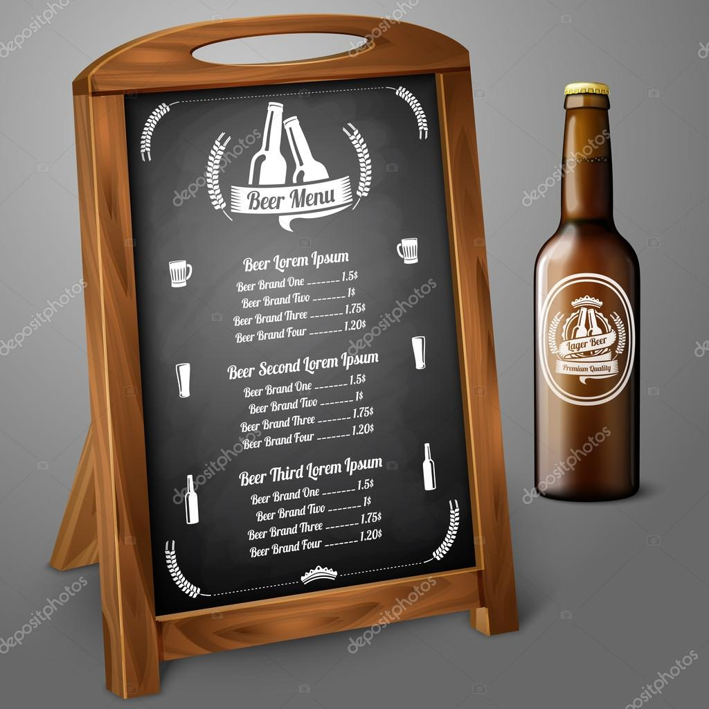 黒板 ビールやお酒のメニュー テンプレート ベクトル ストック