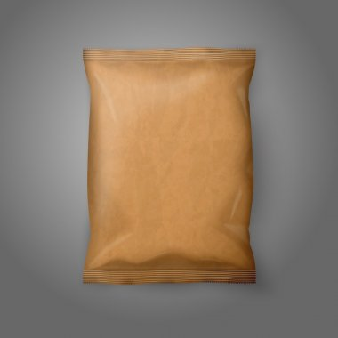 Blank realistic craft paper snack pack isolated on grey background with place for your design and branding. Vector