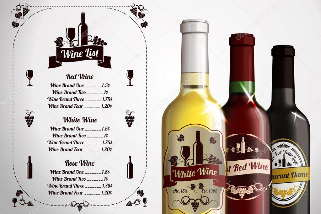 Menu template - for alcohol with three realistic wine bottles ...