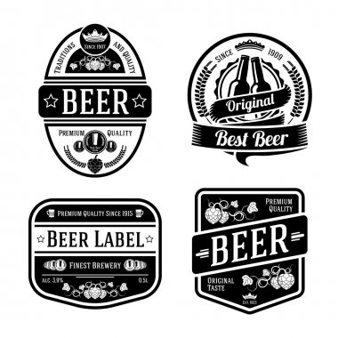 Black monochrome beer labels