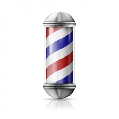 silver and glass barber shop pole