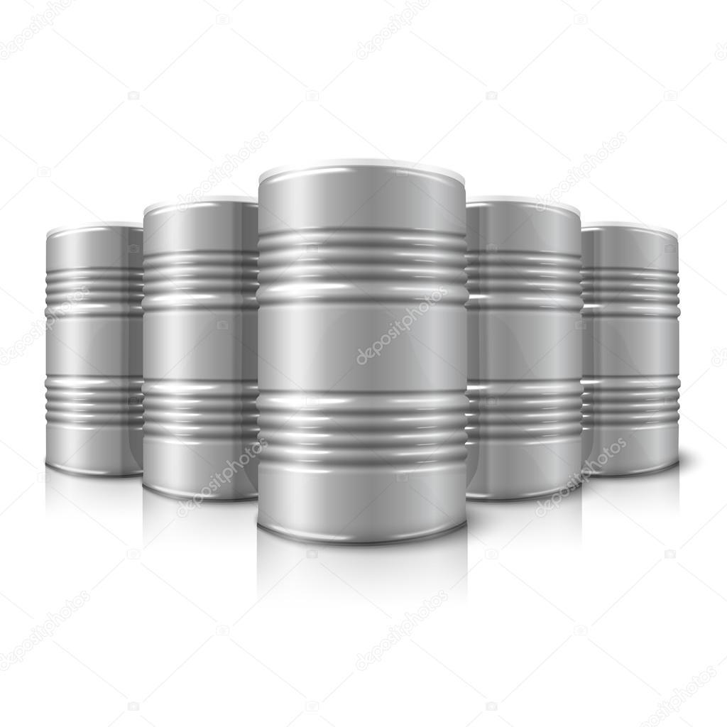 Blank vector realistic big oil barrels