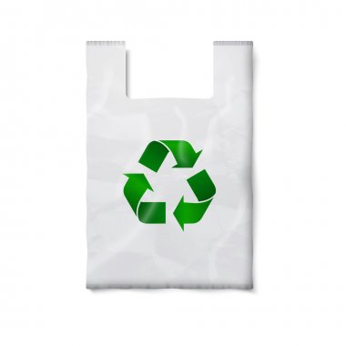 plastic bag with green recycling sign