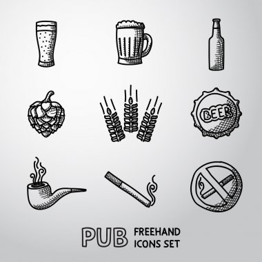 Pub, beer handdrawn icons set.