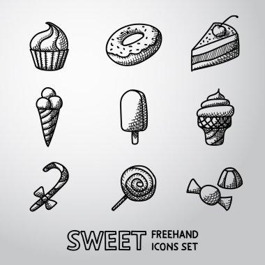Sweet handdrawn icons set