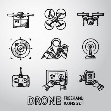 Set of freehand drone icons.