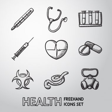 Medicine and health care freehand icons