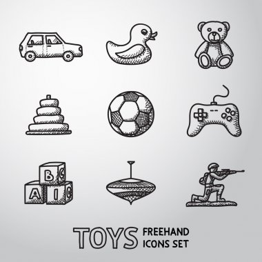 Toys hand drawn icons set