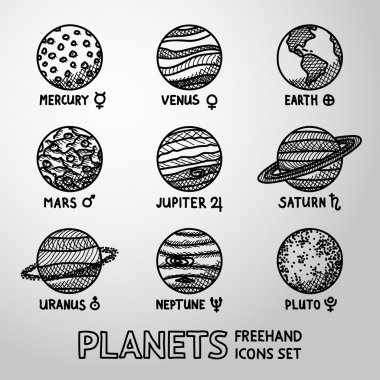 planet icons with names and astronomical symbols