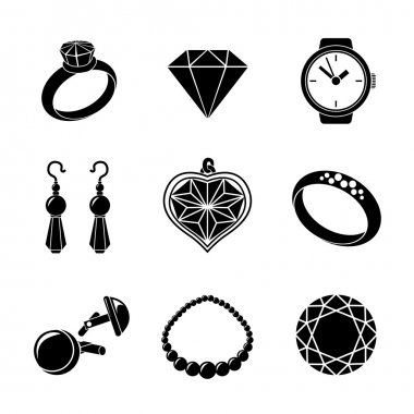 Jewelry monochrome icons