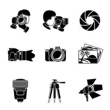 Photographer monochrome icons set