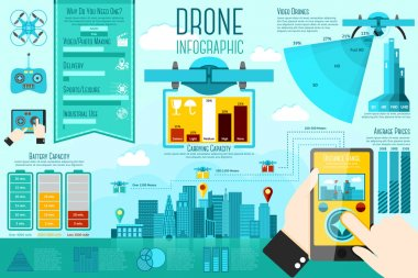 Set of modern air drones Infographic elements with icons, different charts, rates etc. With places for your text. Vector