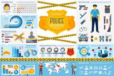 Set of Police work Infographic elements with icons, different charts, rates etc. With places for your text. Vector