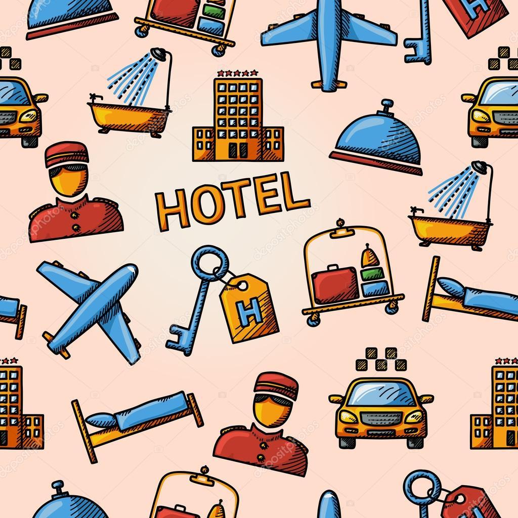 Nahtlose Hotel Handdrawn Muster — Stockvektor © tashaleks #81625686