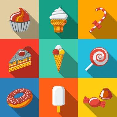 Modern flat sweet icons set