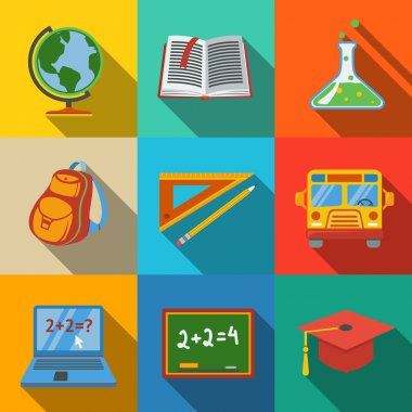 School, education modern flat icons set