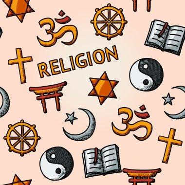 World religion hand drawn seamless pattern - christian, Jewish, Islam, Buddhism, Hinduism, Taoism, Shinto, and book as symbol of doctrine.