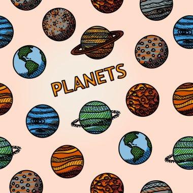 hand drawn planet pattern with - mercury, venus, earth, mars, jupiter, saturn, uranus, neptune, pluto. Vector