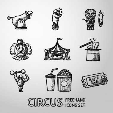 Set of CIRCUS freehand icons with - clown, cannon, bear, lion, magician hat, strongman, ticket, cola and popcorn. Vector
