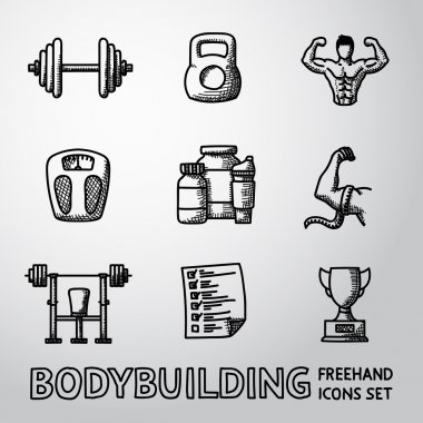 Set of Bodybuilding freehand icons with - dumbbell, weight, bodybuilder, scales, gainer, shaker, measuring, barbell, schedule, goblet. Vector