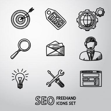 Set of SEO handdrawn icons - target with arrow, tag, world, magnifier, mail, support, idea, instruments, site. Vector