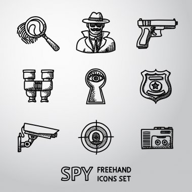 Set of Spy handdrawn icons