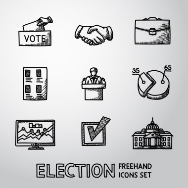Set of handdrawn ELECTION icons