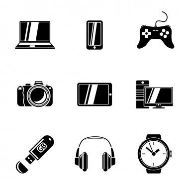 Set of GADGET icons with - notebook, phone, gamepad, photo camera, tablet, pc, flash card, headphones, watches. Vector