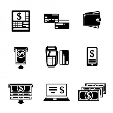Set of ATM monochrome icons with - ATM, cards, wallet, portable atm, smartphone, money transfer, notebook, bills. Vector