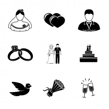 Set of wedding icons - cake, flowers, dove, champagne, rings, couple, bride, hearts, groom. Vector