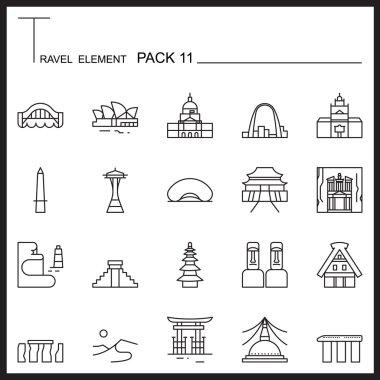 Travel Element Line Icon Set 11.Landmark thin icons.Mono pack.Gr