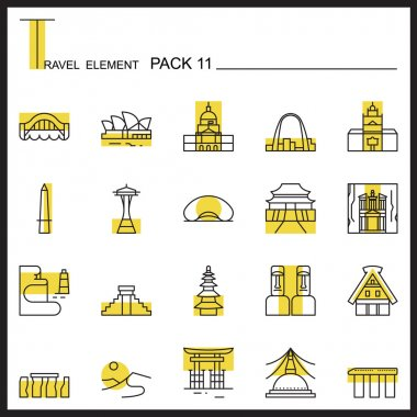 Travel Element Line Icon Set 6.Camping thin icons.Color pack.
