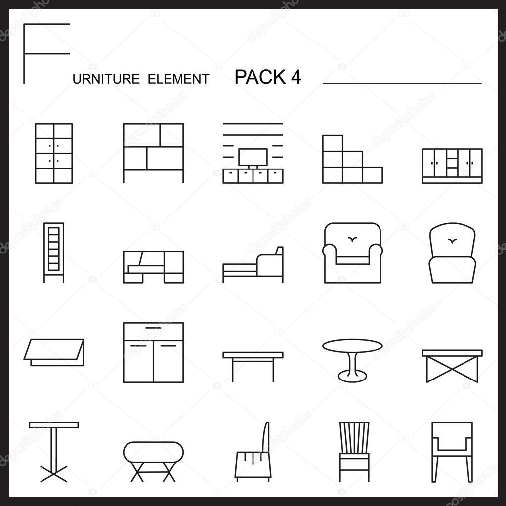 Möbel Und Dekorieren Linie Icons Pack 4. Mono Gliederung Symbole U2014  Stockvektor