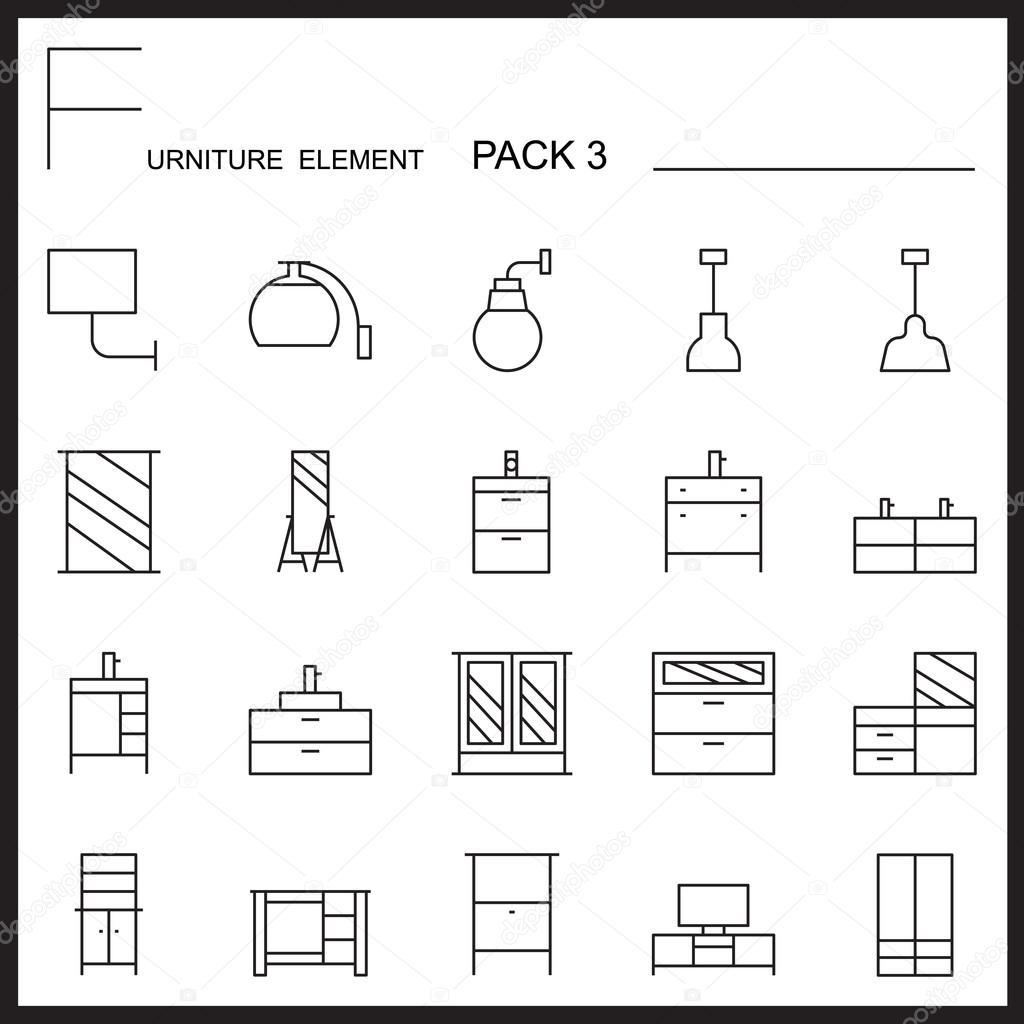 Möbel Und Dekorieren Linie Icons Pack 3. Mono Gliederung Symbole U2014  Stockvektor