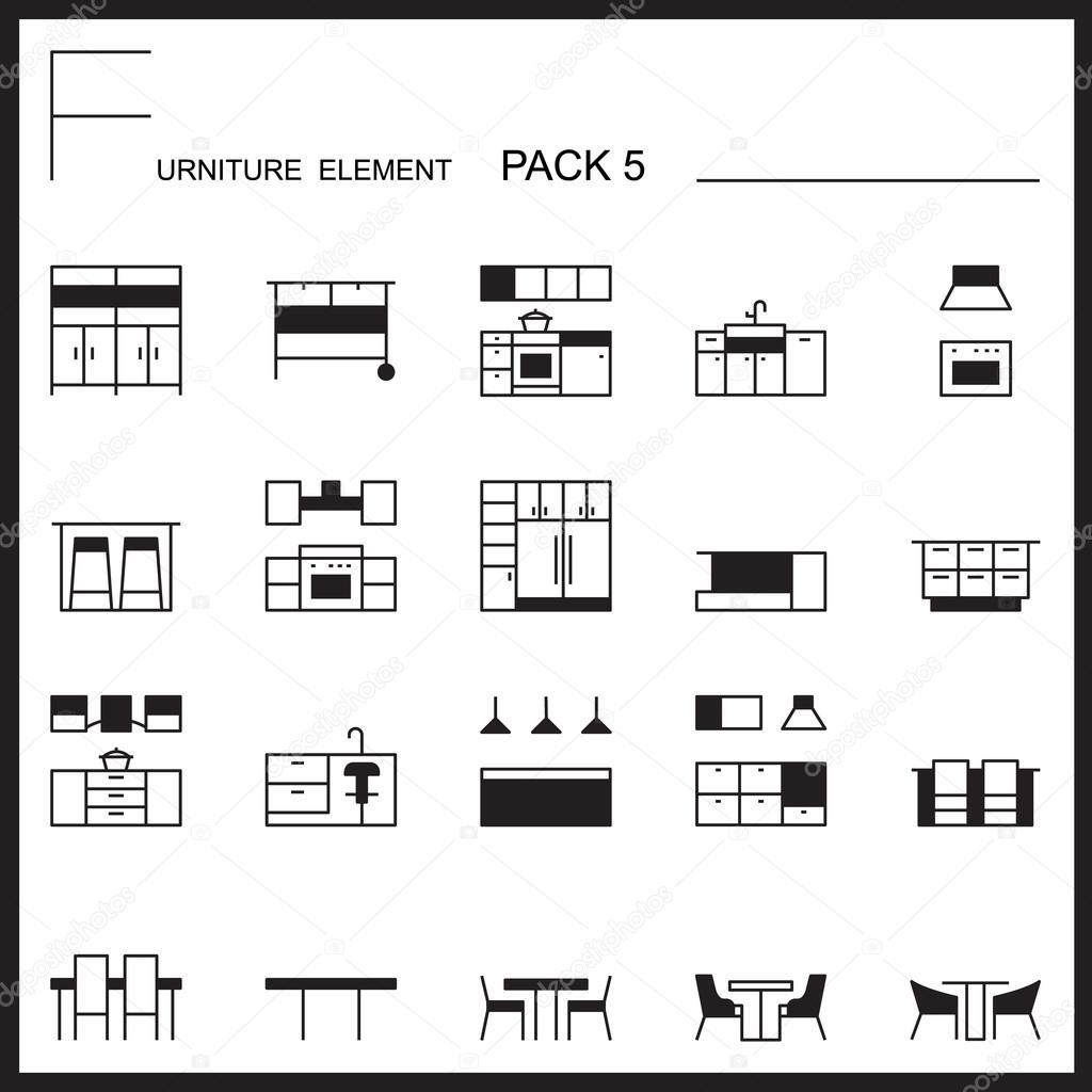 Möbel Und Dekorieren Linie Icons Pack 5. Mono Gliederung Symbole U2014  Stockvektor