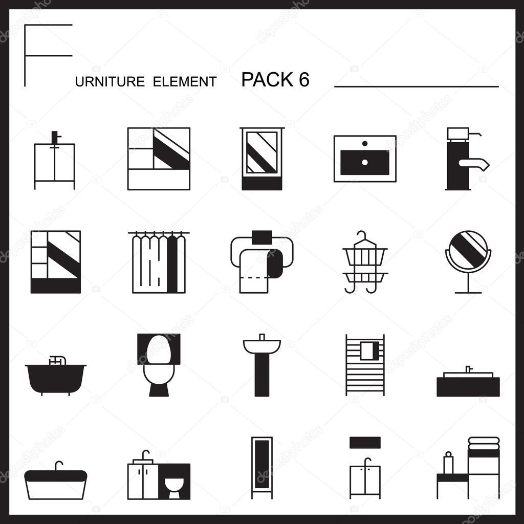 Schön Möbel Und Dekorieren Linie Icons Pack 6. Mono Gliederung Symbole U2014  Stockvektor