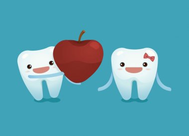 Tooth boy provide a heart apple for tooth girl on valentine's day